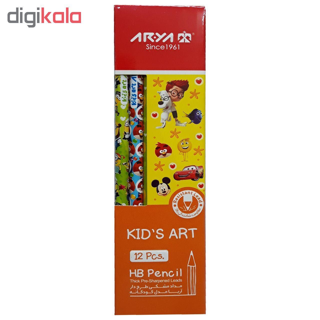 مداد مشکی آریا مدل KID'S ART کد A4 بسته 12 عددی main 1 1