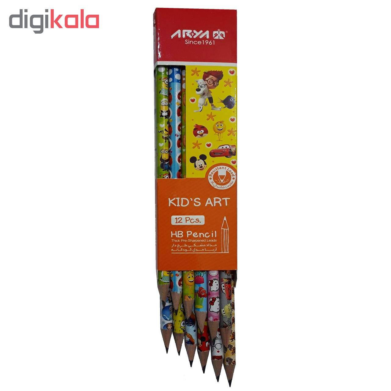 مداد مشکی آریا مدل KID'S ART کد A4 بسته 12 عددی main 1 2