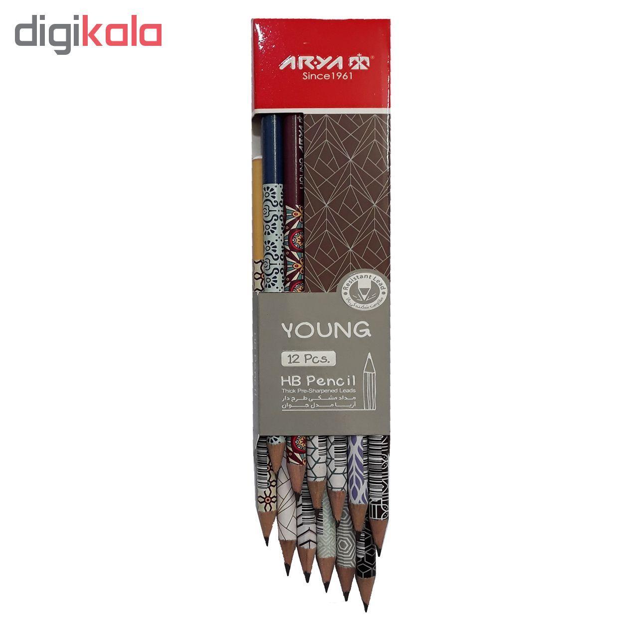 مداد مشکی آریا مدل YOUNG کد A7 بسته 12 عددی main 1 2