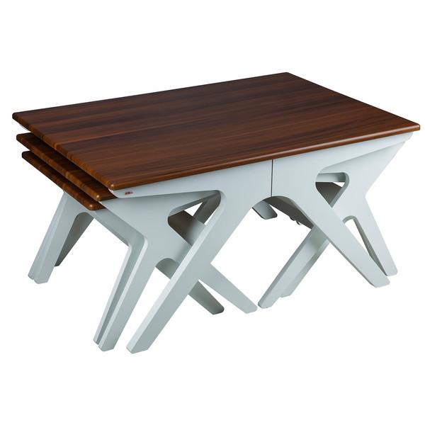 میز عسلی چشمه نور کد D-128/BR-WT مجموعه 3 عددی