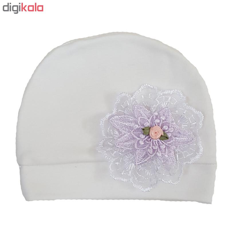 کلاه نوزادی طرح گل کد m801