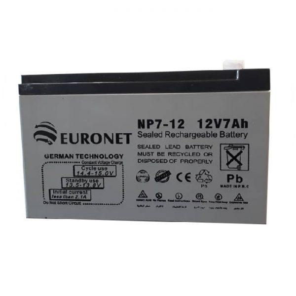 باتری یو پی اس 12 ولت 7 آمپر ساعت یورونت مدل NP7-12