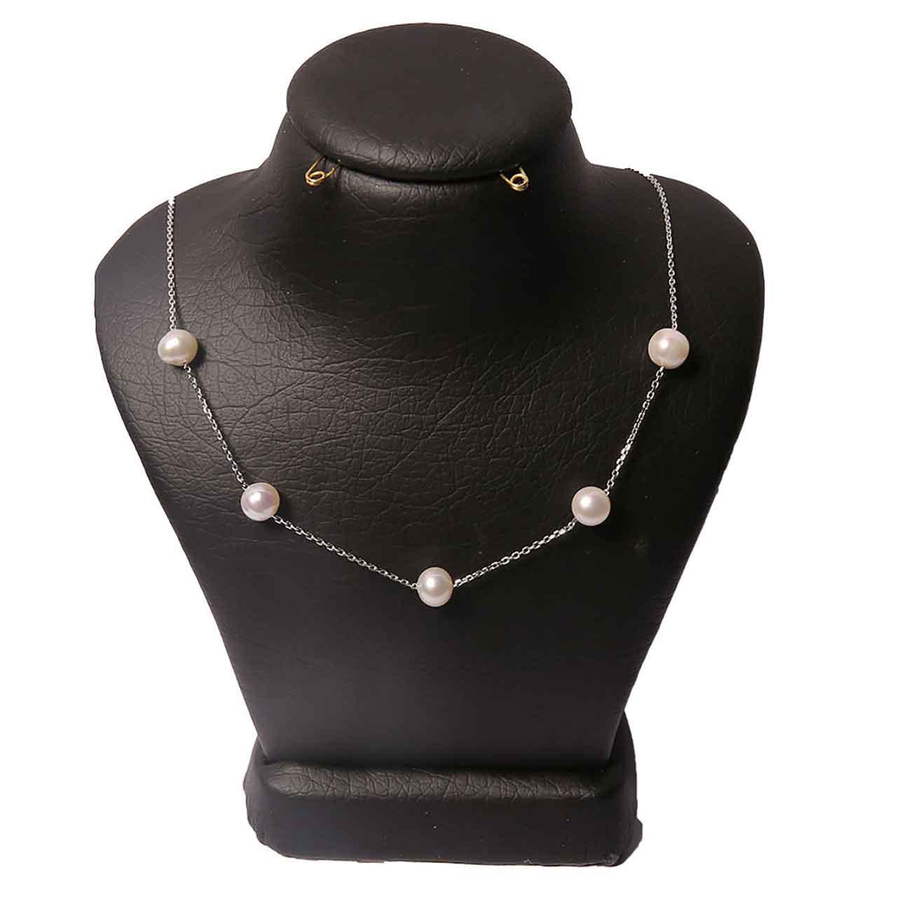 گردنبند نقره زنانه طرح مروارید کد 54