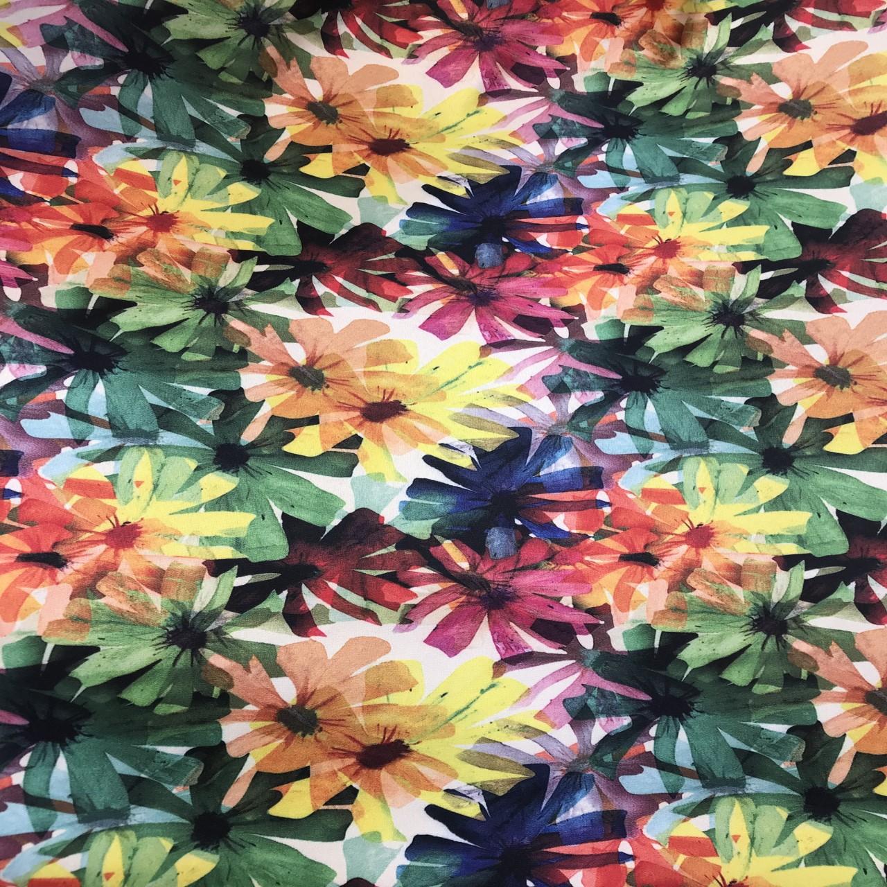 پارچه لباسی طرح گل آبرنگی کد 1018