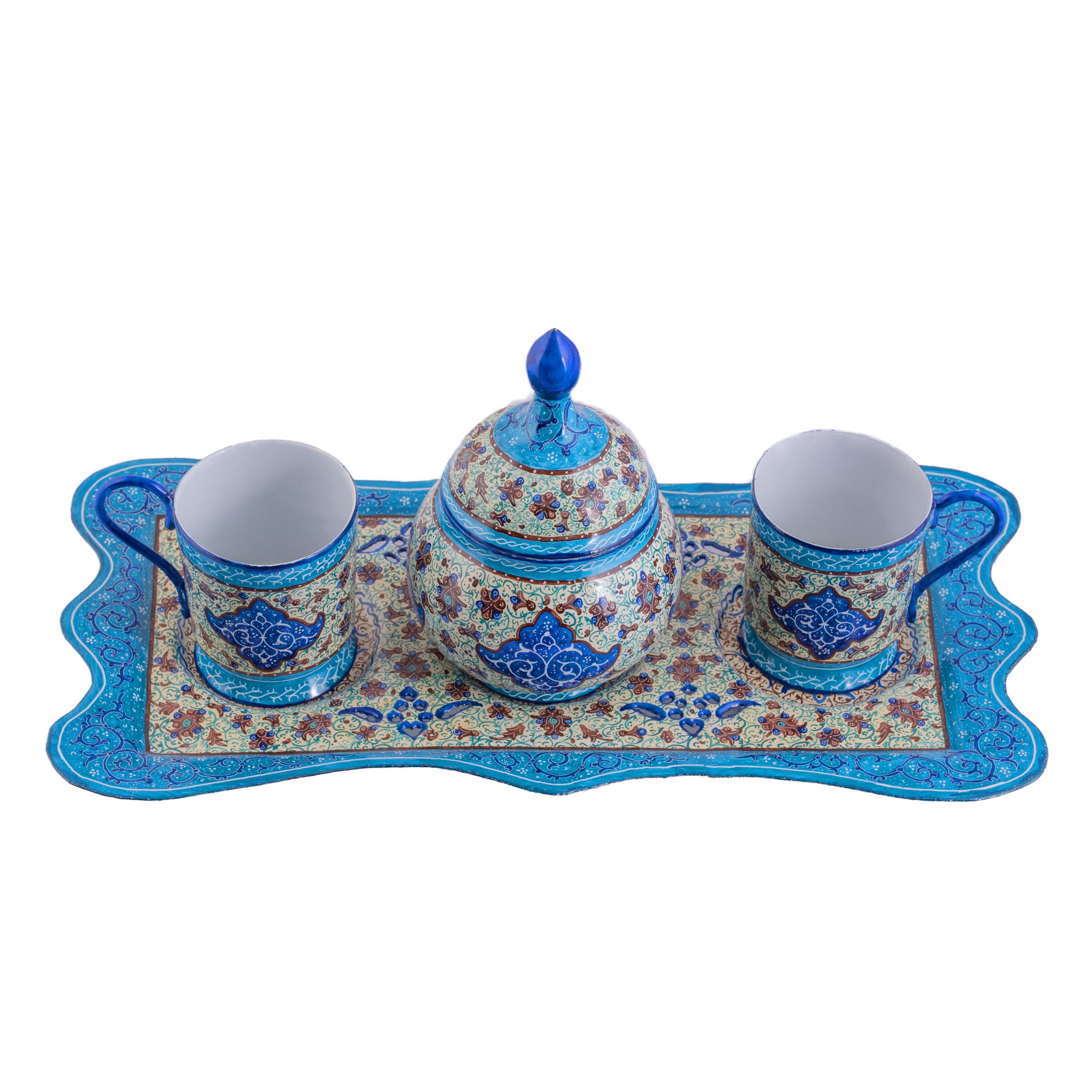 سرویس چای خوری میناکاری  سلطانی طرح اسلیمی کد 110 مجموعه 4 عددی