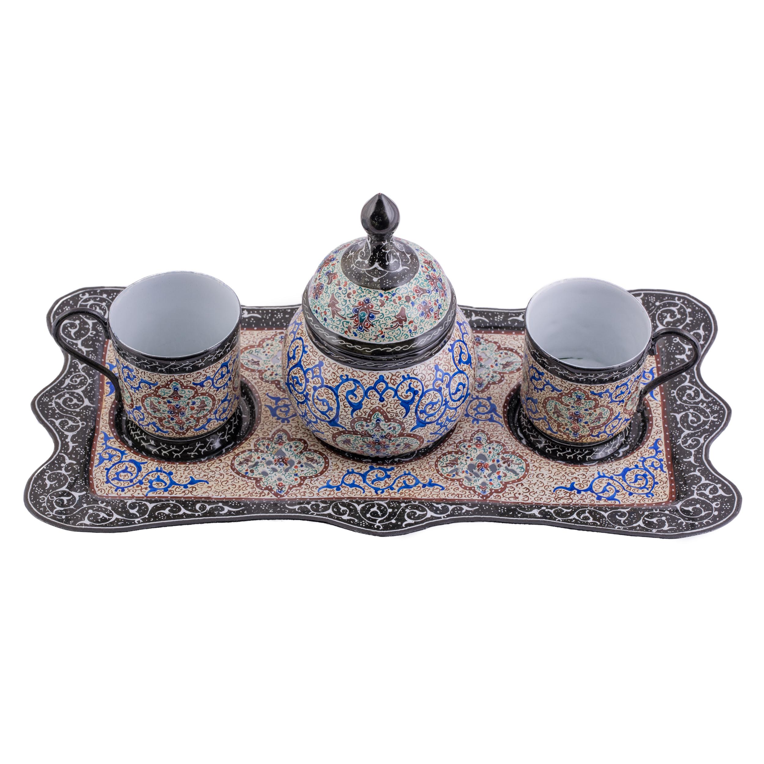 سرویس چای خوری میناکاری سلطانی طرح اسلیمی کد 111 مجموعه 4 عددی