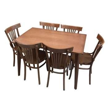 میز و صندلی ناهار خوری 6 نفره اسپرسان چوب مدل Sm43