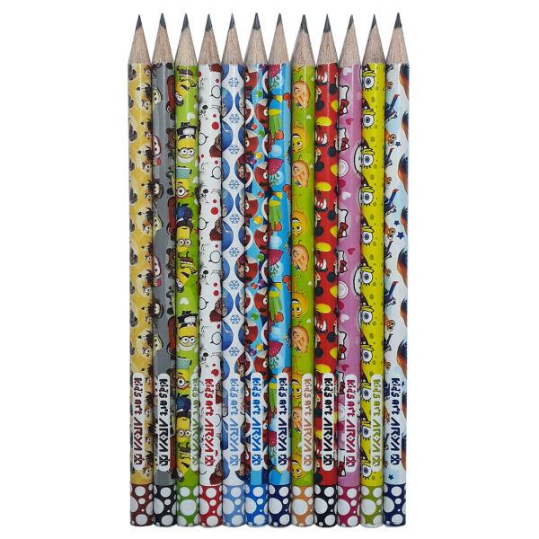 مداد مشکی آریا مدل KID'S ART کد A4 بسته 12 عددی