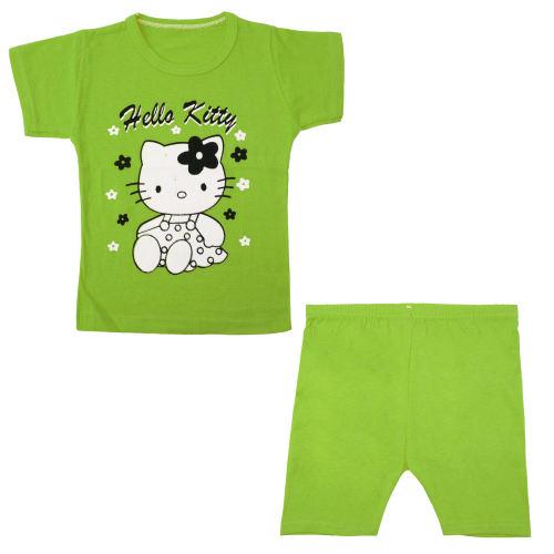 ست تیشرت و شلوارک نوزادی دخترانه کد k005 رنگ سبز