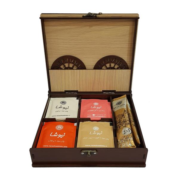 جعبه چای کیسه ای نیوشا مدل خورشید بسته 22 عددی