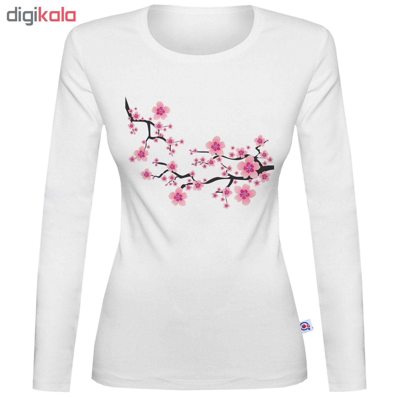 تی شرت آستین بلند زنانه آکو طرح شکوفه کد SS48