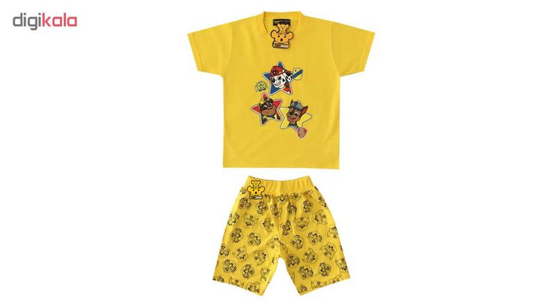 ست تی شرت و شلوارک پسرانه خرس کوچولو مدل سگ نگهبان کد 04