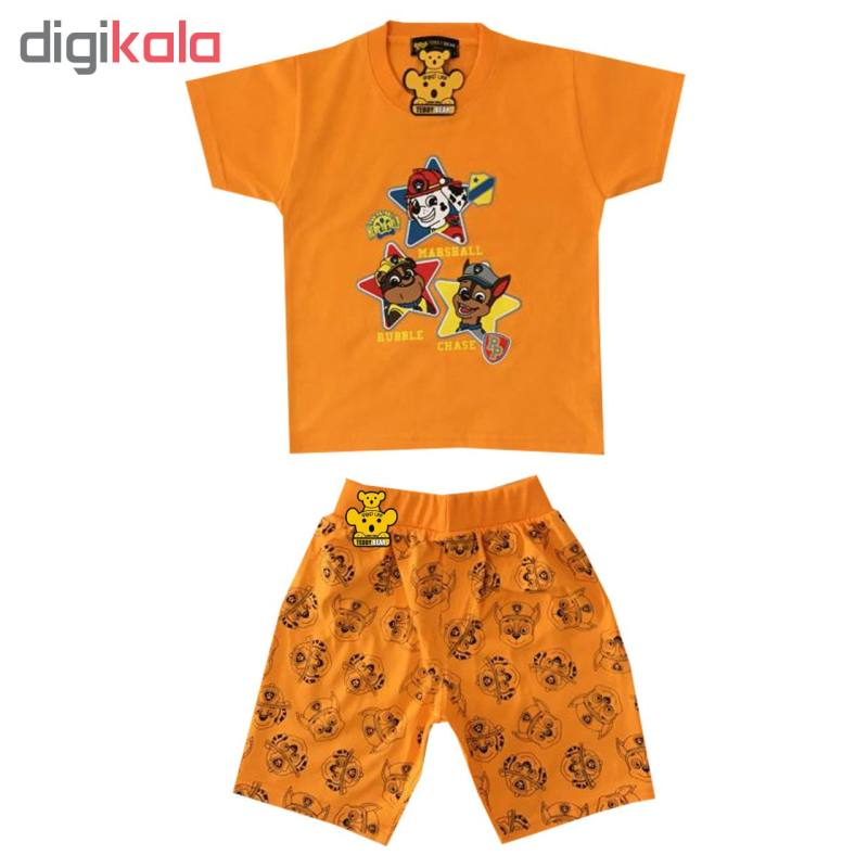 ست تی شرت و شلوارک پسرانه خرس کوچولو مدل سگ نگهبان کد 05
