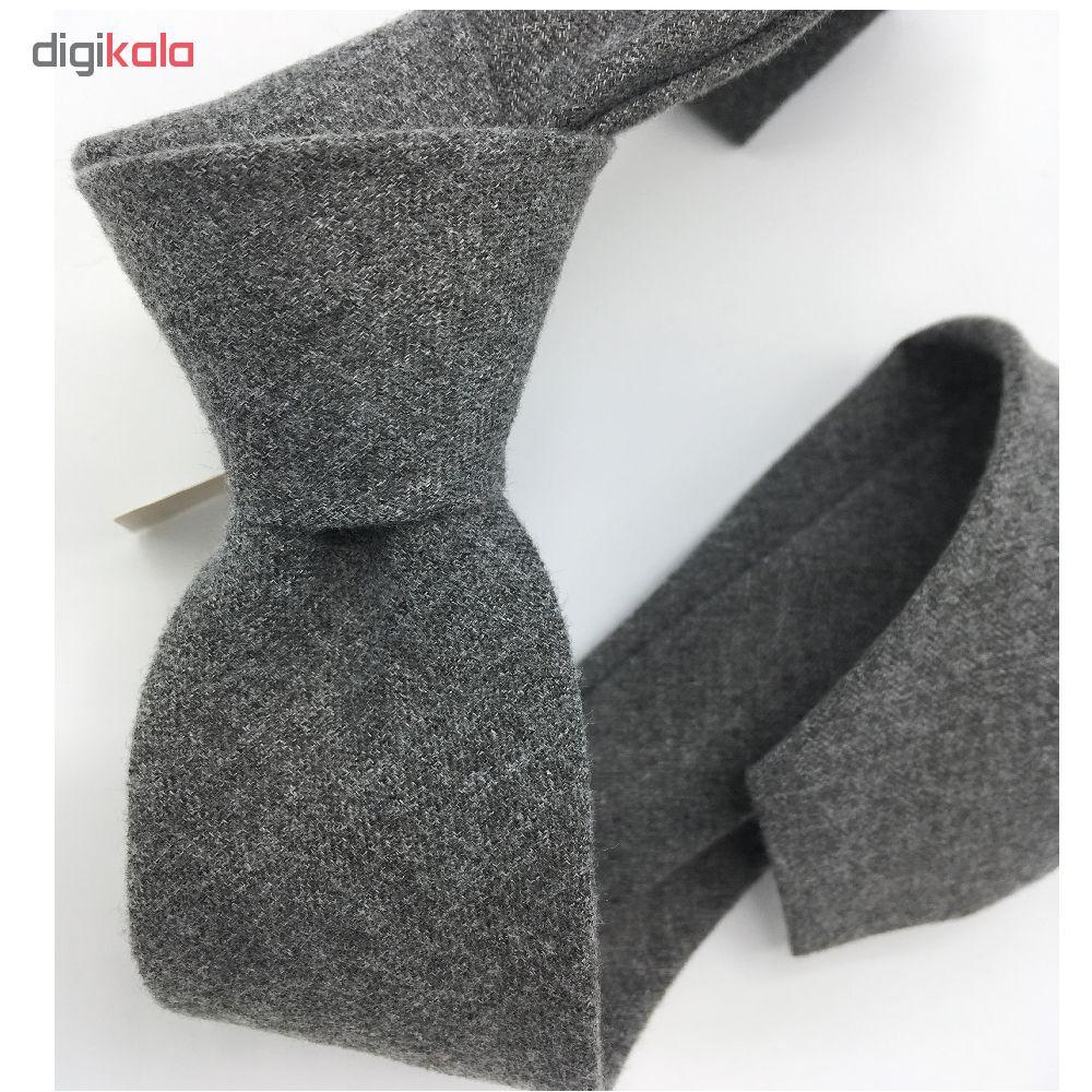 ست کراوات و دستمال جیب هکس ایران مدل KT-GRAY