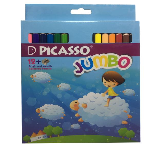 مداد رنگی 12 رنگ پیکاسو مدل jumbo کد 88748 به همراه تراش