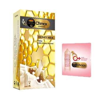 کاندوم کلایمکس مدل HONY MILK بسته 12 عددی به همراه کاندوم مدل بلیسر کد 01