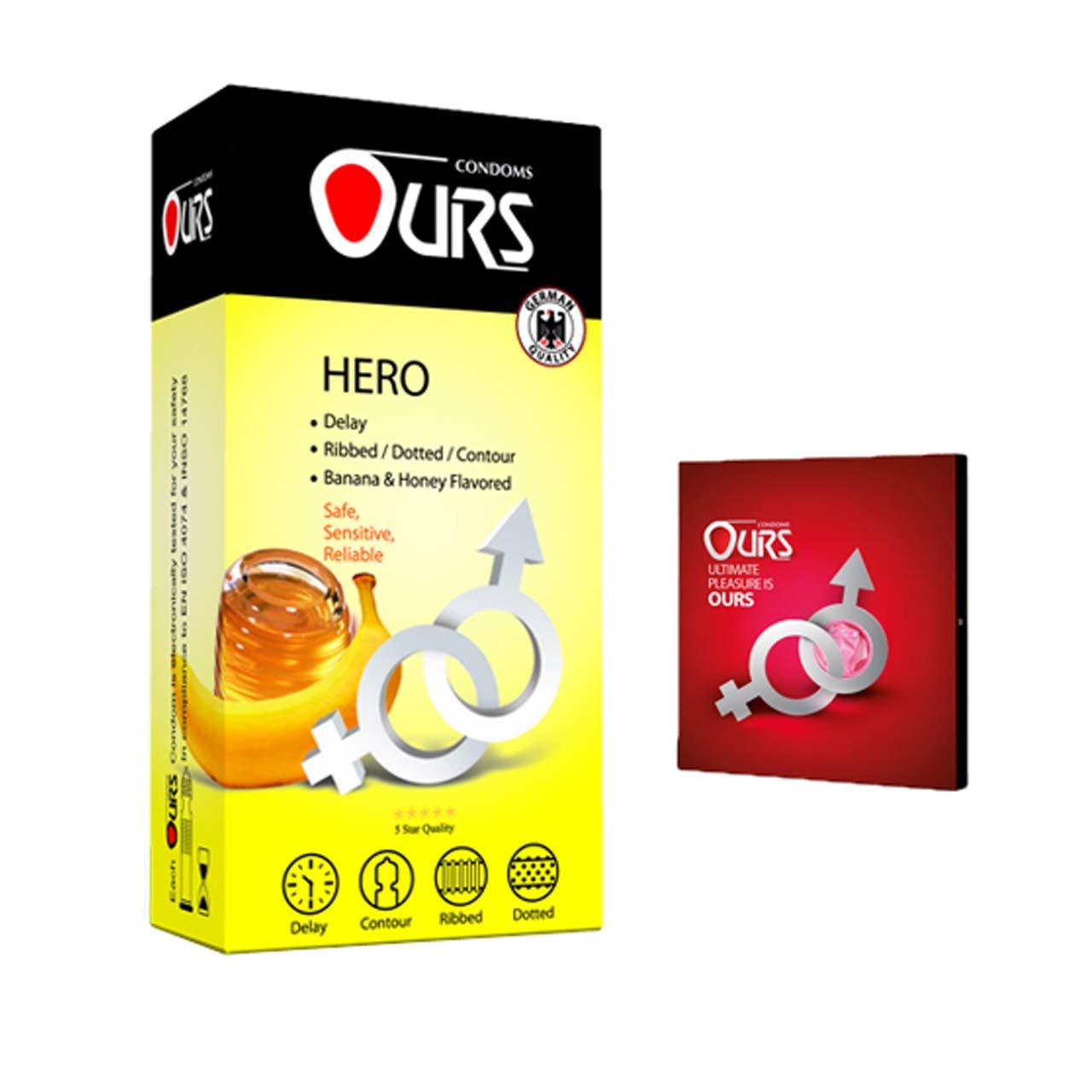 کاندو اورز مدل HERO بسته 12 عددی به همراه کاندوم مدل بلیسر