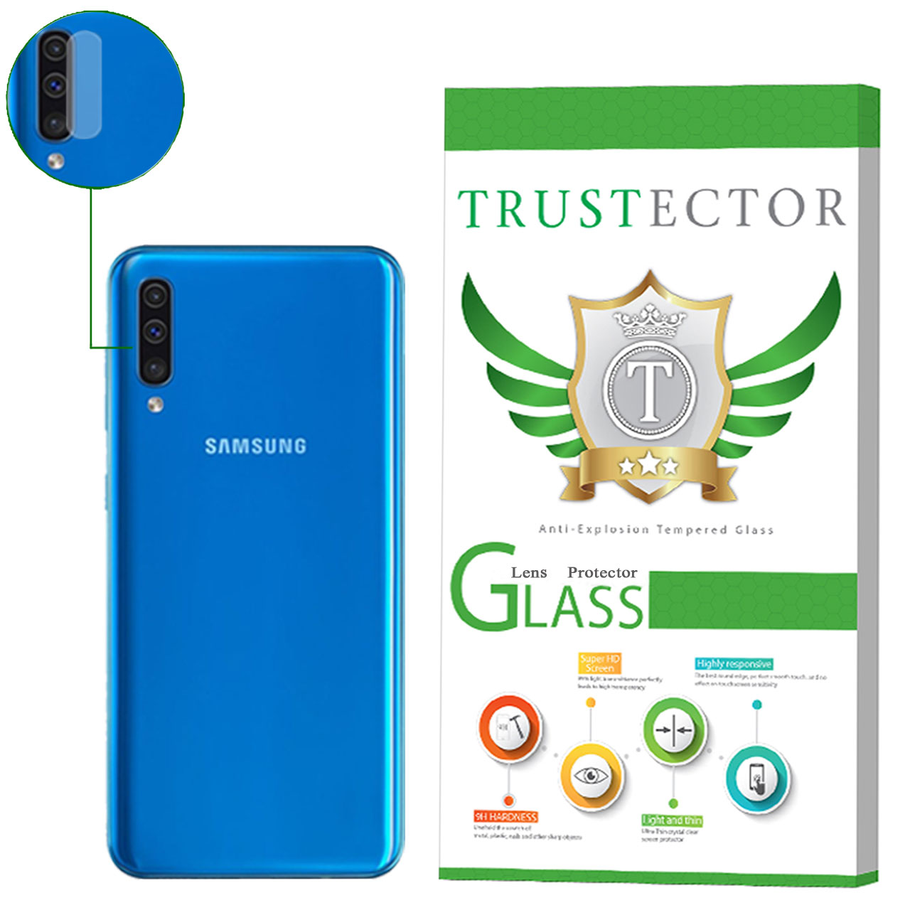 محافظ لنز دوربین تراستکتور مدل CLP مناسب برای گوشی موبایل سامسونگ Galaxy A50              ( قیمت و خرید)