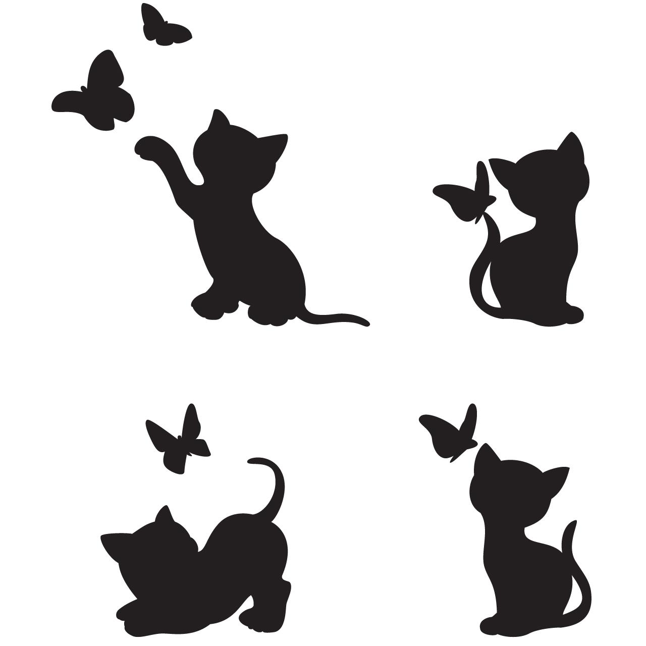 استیکر کلید و پریز طرح گربه ها مجموعه 4 عددی