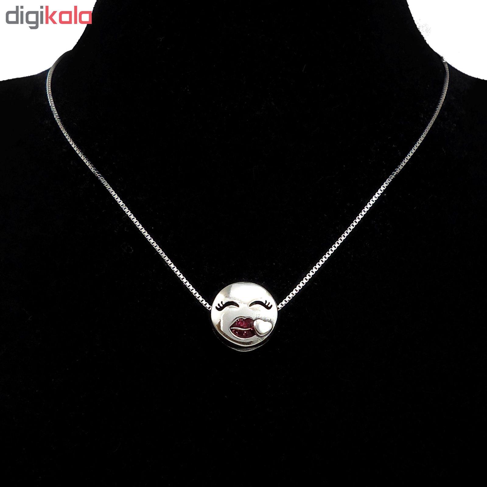 گردنبند نقره زنانه آی جواهر طرح عشق کد 77371