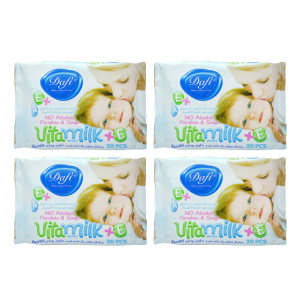 دستمال مرطوب کودک دافی مدل vita milk مجموعه 4 عددی