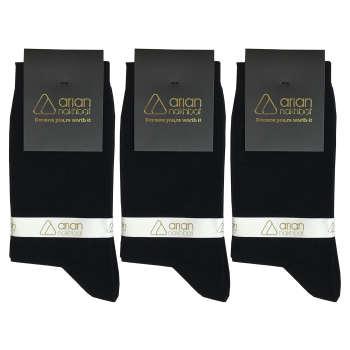جوراب مردانه مشکی آریان نخ باف کد 51217 بسته 3 جفتی پنجه گیری شده