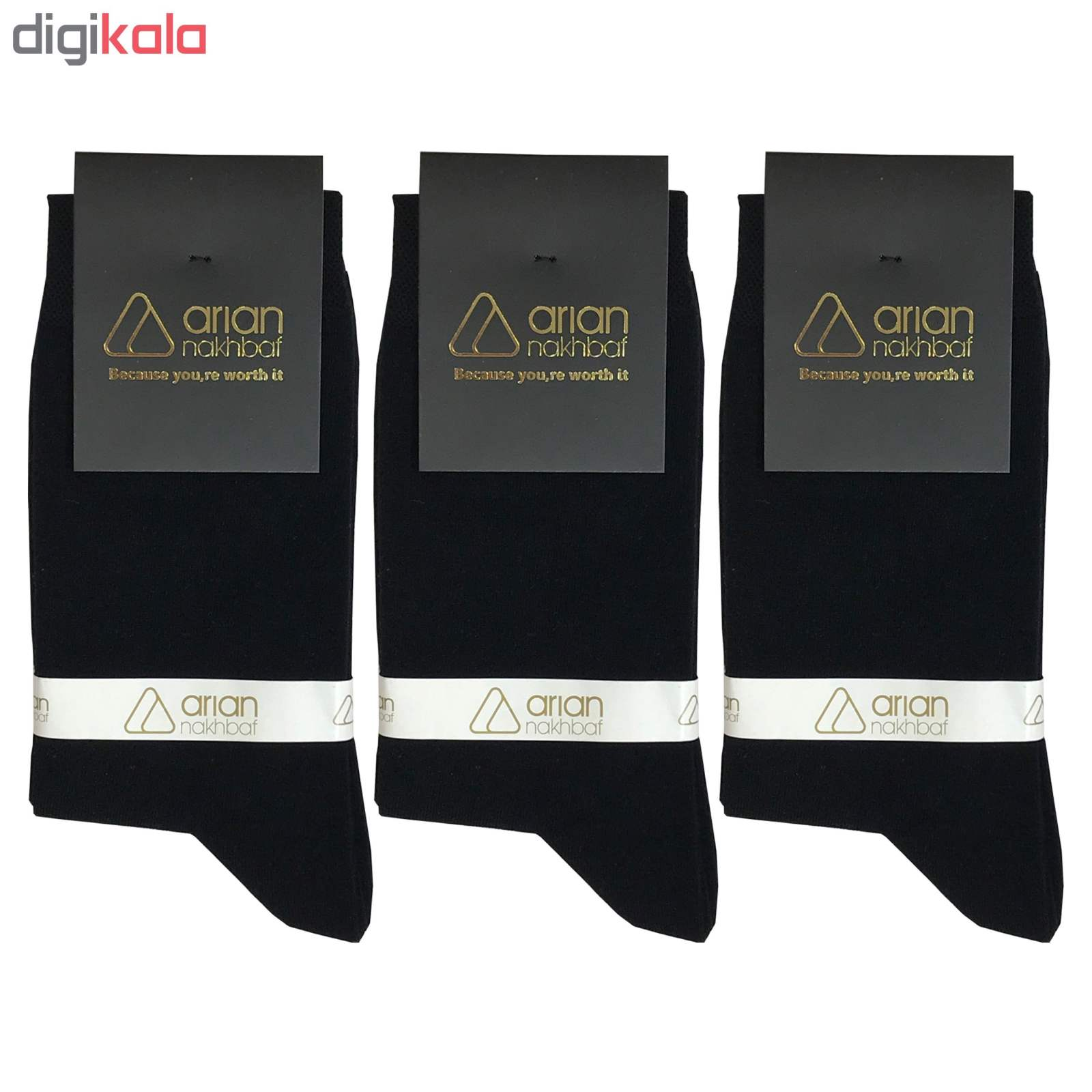 جوراب مردانه مشکی آریان نخ باف کد 51217 بسته 3 جفتی پنجه گیری شده main 1 1