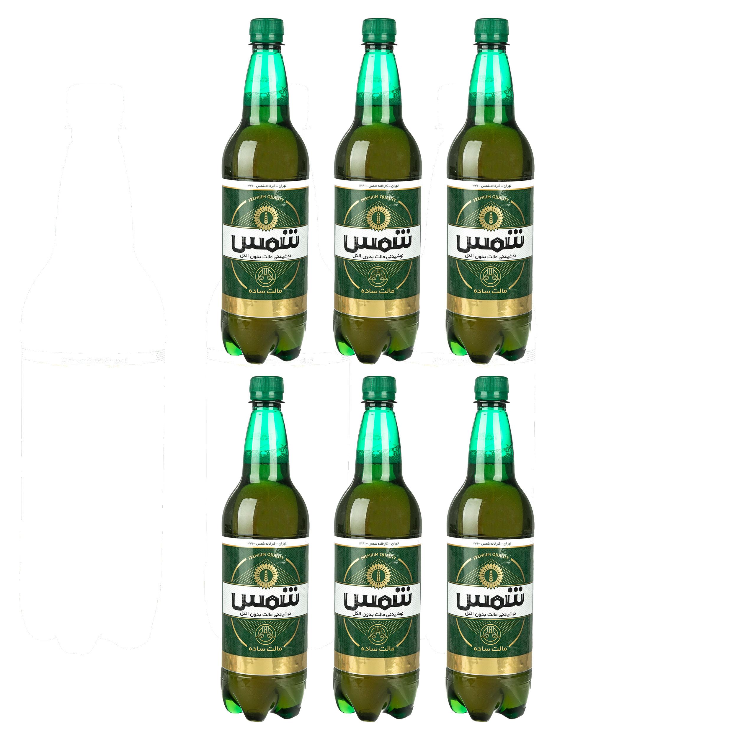 نوشیدنی مالت بدون الکل کلاسیک شمس - 1 لیتر بسته 6 عددی