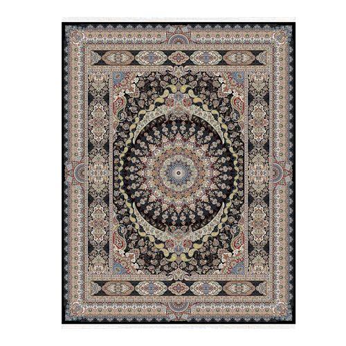 فرش ماشینی ستاره کویر یزد طرح هزار و یک شب زمینه مشکی