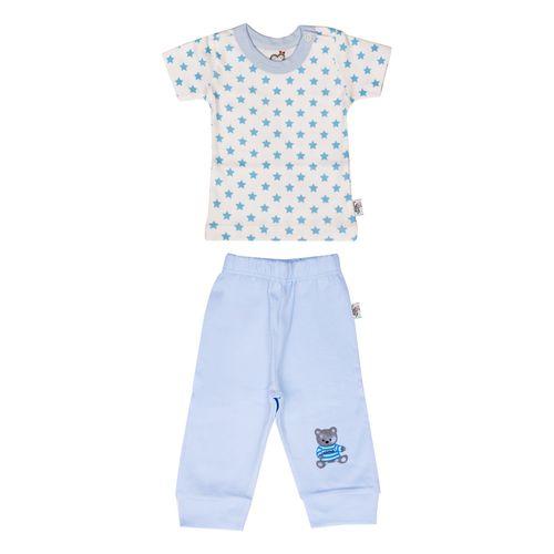 ست تی شرت و شلوار نوزادی پسرانه آدمک طرح ستاره آبی  کد 01