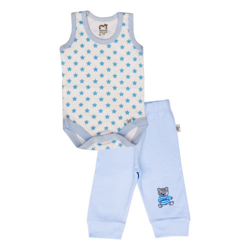 ست بادی و شلوار نوزادی پسرانه آدمک طرح ستاره آبی  کد 05