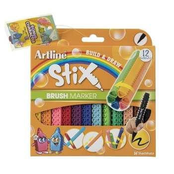 ماژیک رنگ آمیزی 12 رنگ آرت لاین سری استیکس مدل brush
