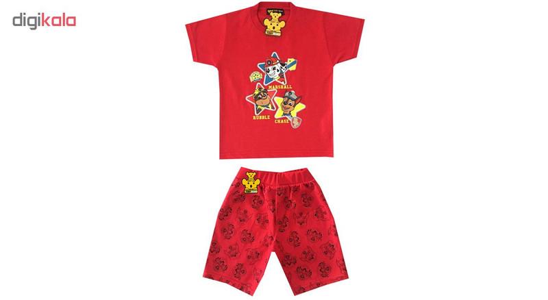 ست تی شرت و شلوارک پسرانه خرس کوچولو طرح سگ نگهبان کد 02