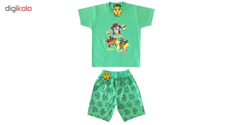 ست تی شرت و شلوارک پسرانه خرس کوچولو طرح سگ نگهبان کد 01