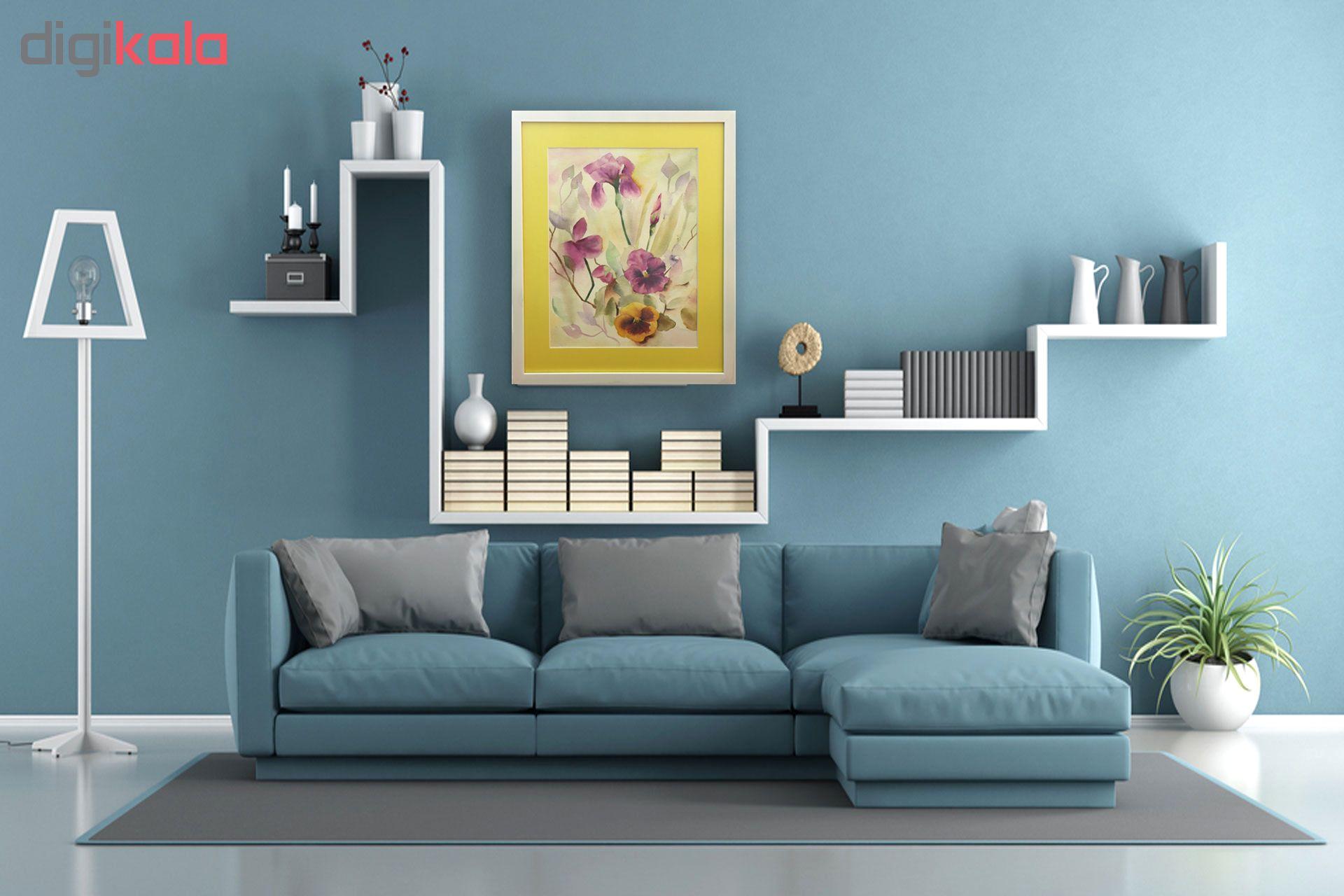 خرید                      تابلو نقاشی آبرنگ طرح بنفشه و زنبق کد 006