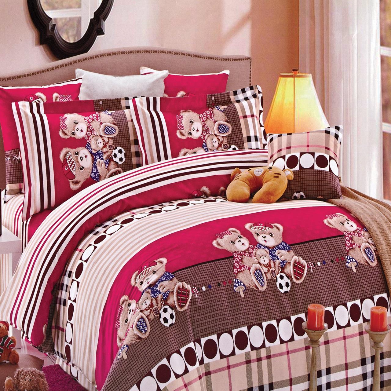 سرویس خواب کارینا کد 00413 مدل Tedd Pink یک نفره چهار تکه