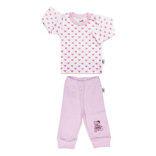 ست تی شرت و شلوار نوزادی دخترانه آدمک طرح قلب  کد 03