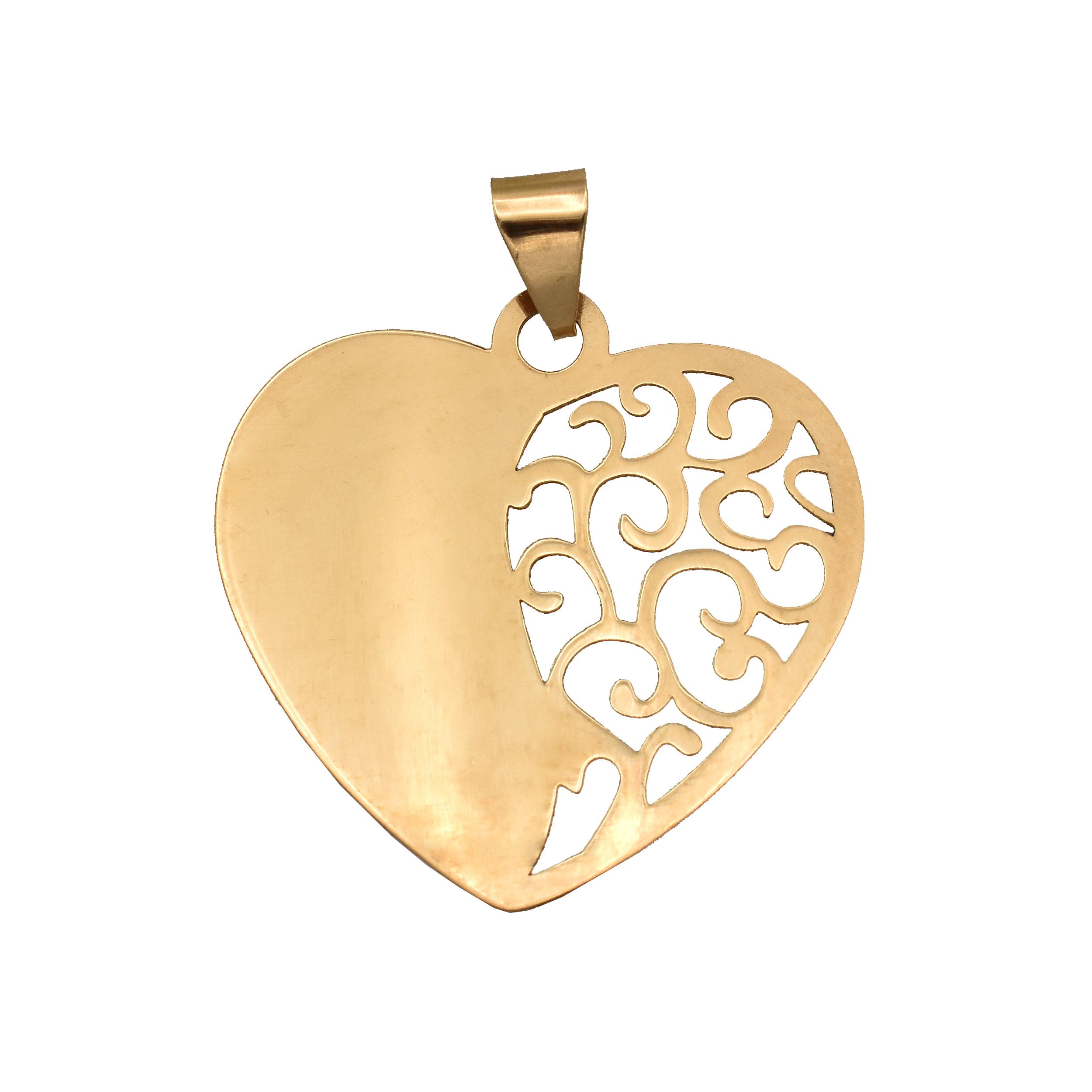 قیمت آویز گردنبند طلا 18 عیار زنانه آمانژ مدل قلب کد D2551