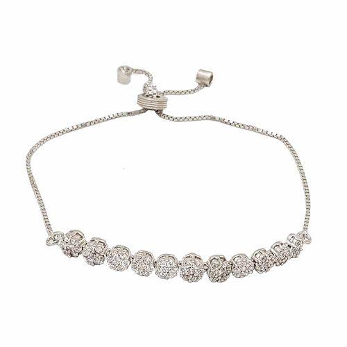 دستبند نقره زنانه ترمه 1 طرح گل کد DB 5001