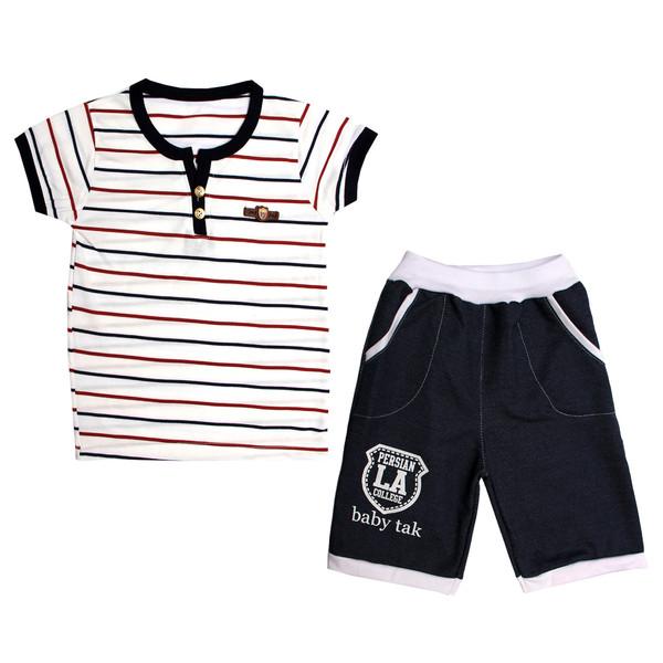 ست تی شرت و شلوارک پسرانه کد 6-380042