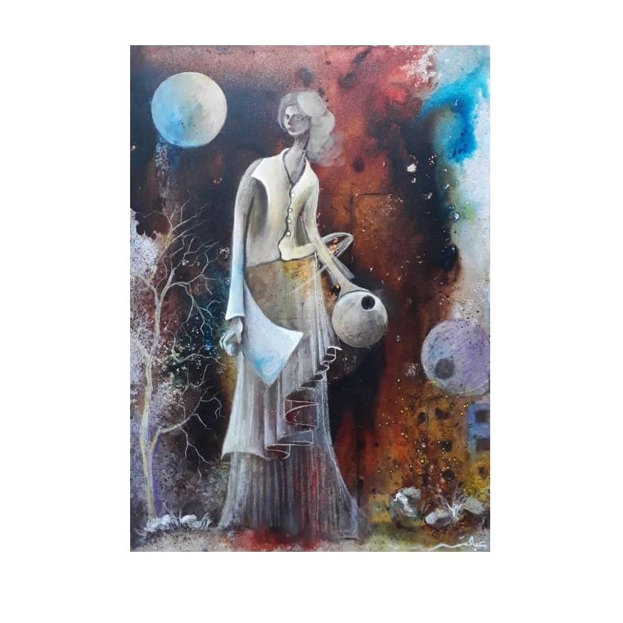 تابلو نقاشی طرح شب مهتاب