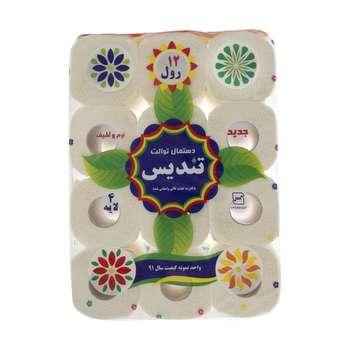 دستمال توالت تندیس مدل Flower بسته 12 عددی
