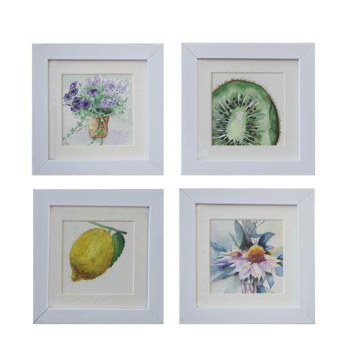 تابلو نقاشی آبرنگ طرح میوه و گل کد 008 مجموعه 4 عددی