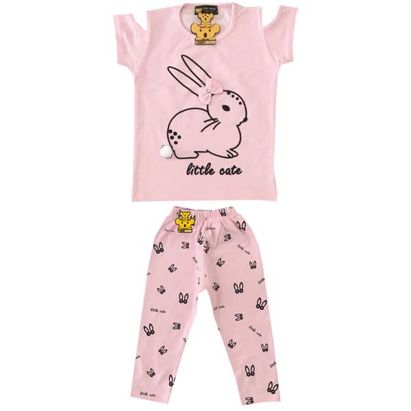 ست تیشرت و شلوار دخترانه خرس کوچولو مدل Rabbit کد 03