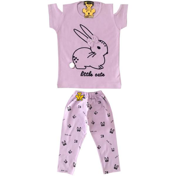 ست تیشرت و شلوار دخترانه خرس کوچولو طرح Rabbit کد 05
