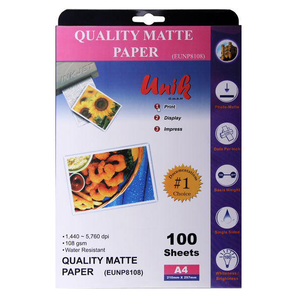 کاغذ چاپ عکس مات یونیک کد 8108 سایز A4 بسته 100 عددی