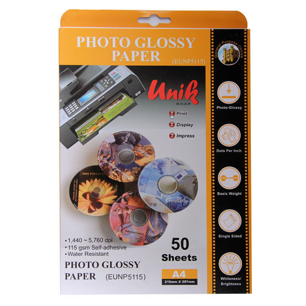 کاغذ چاپ عکس گلاسه یونیک کد 5115 سایز A4 بسته 50 عددی