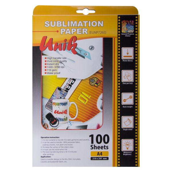 کاغذ سابلیمیشن یونیک کد 7265 سایز A4  بسته 100 عددی