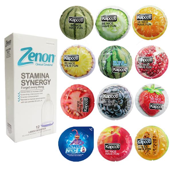 خرید                      کاندوم زنون مدل SETAMINA SYNERGI بسته 12 عددی به همراه کاندوم کاپوت مدل میوه ای مجموعه 11 عددی و کاندوم ناچ کدکس مدل بلیسر