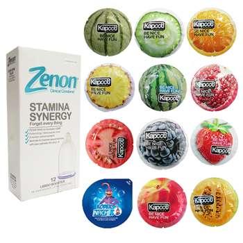 کاندوم زنون مدل SETAMINA SYNERGI بسته 12 عددی به همراه کاندوم کاپوت مدل میوه ای مجموعه 11 عددی و کاندوم ناچ کدکس مدل بلیسر